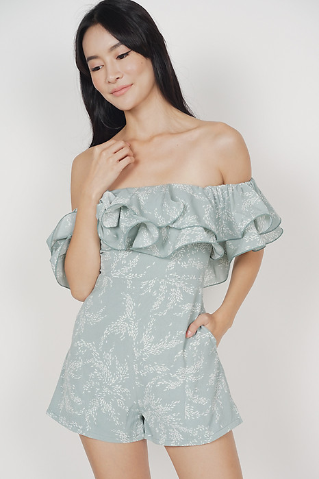 Paesha Ruffled Romper in Mint - Arriving Soon