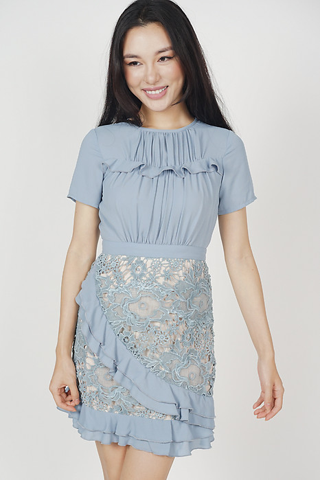 Jayla Lace Dress in Ash Blue - Online Exclusive