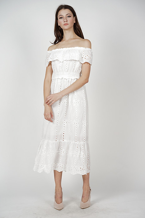 Kleda Off Shoulder Crochet Dress in White - Arriving Soon