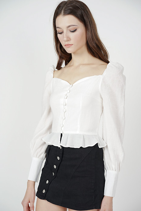 Laini Sleeved Top in White - Online Exclusive