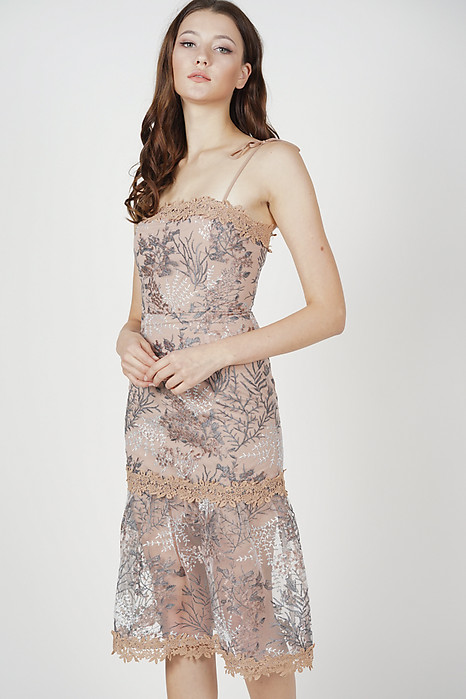 Nerida Lace Dress in Taupe - Arriving Soon
