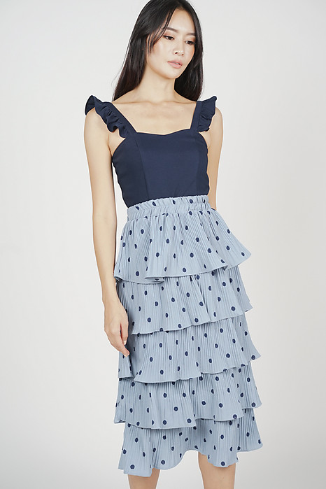 Laneia Tiered Skirt in Ash Blue Polka Dots - Online Exclusive