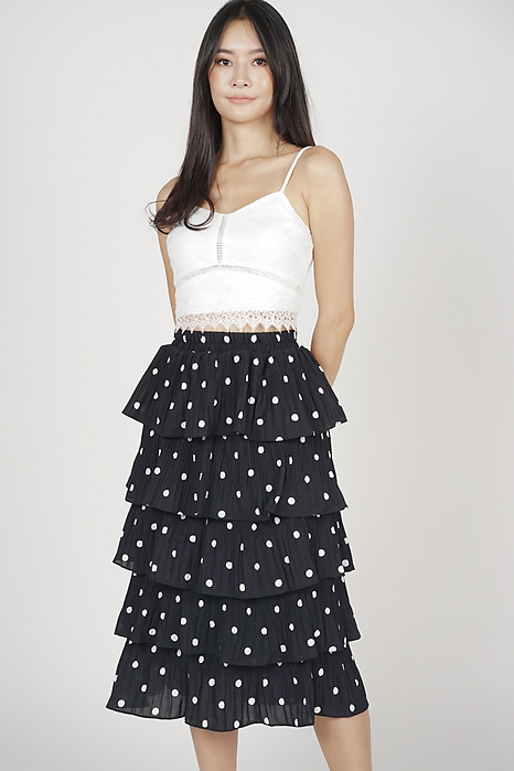 Laneia Tiered Skirt in Black Polka Dots - Online Exclusive