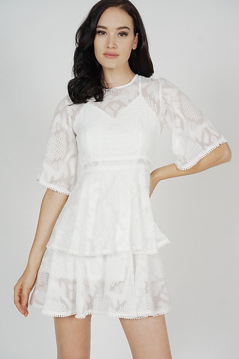 Perie Sheer Tiered Dress in White - Arriving Soon
