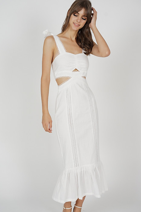 Dameira Cutout Dress in White - Arriving Soon