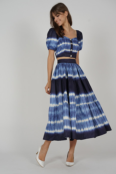 Malora Gathered Skirt in Blue - Arriving Soon
