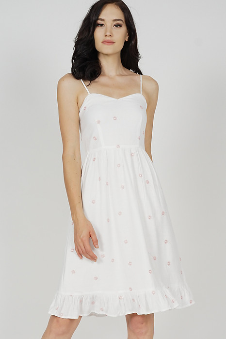 Edith Flared Dress in White Floral - Arriving Soon