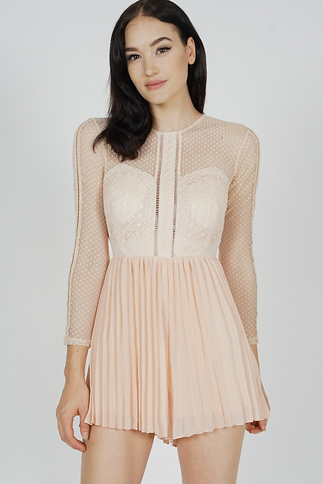 Melorie Pleated Lace Romper in Pink