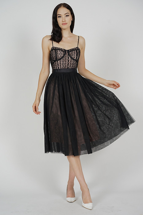 Merie Flared Tulle Dress in Black - Arriving Soon