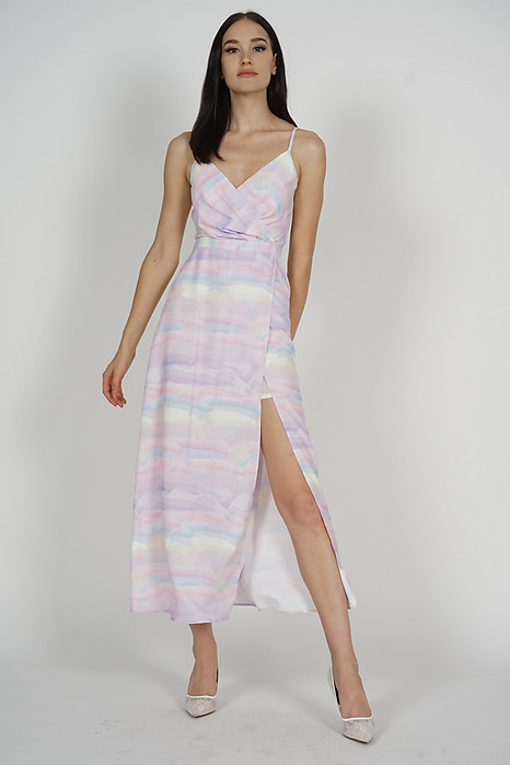 Nazra Overlap Dress in Multi Pastel - Arriving Soon