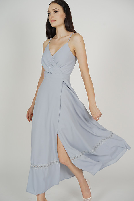 Blenca Overlap Maxi Dress in Ash Blue - Arriving Soon