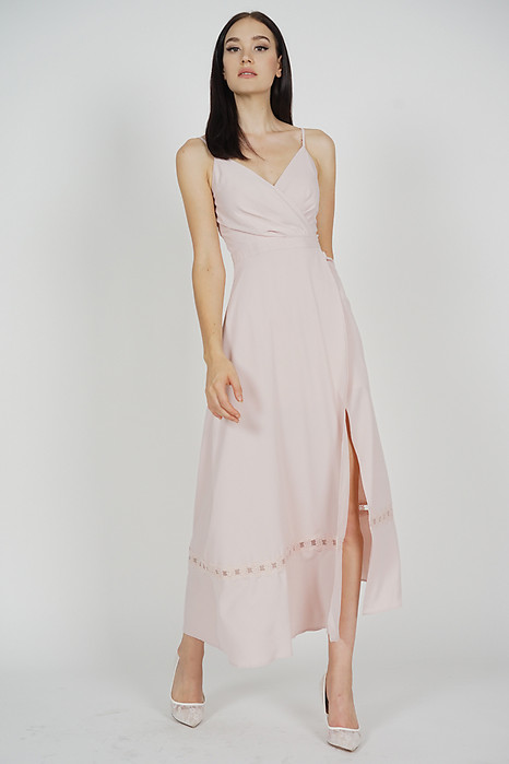 Blenca Overlap Maxi Dress in Pink