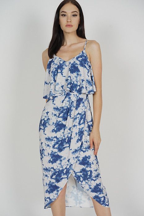Kanzie Overlay Drape Dress in Blue Astract - Arriving Soon