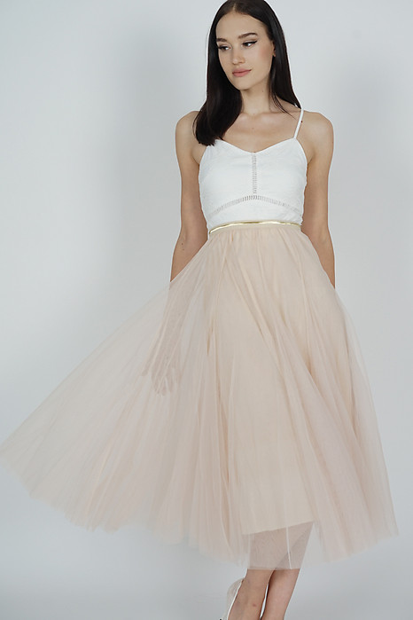 Malini Tulle Skirt in Beige - Arriving Soon