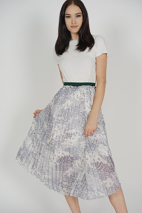 Narena Pleated Skirt in White - Online Exclusive