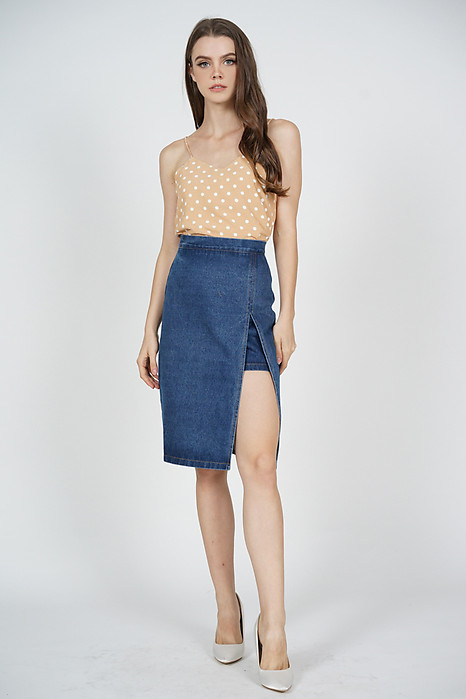 Galby Cami Top in Beige Polka Dots - Online Exclusive