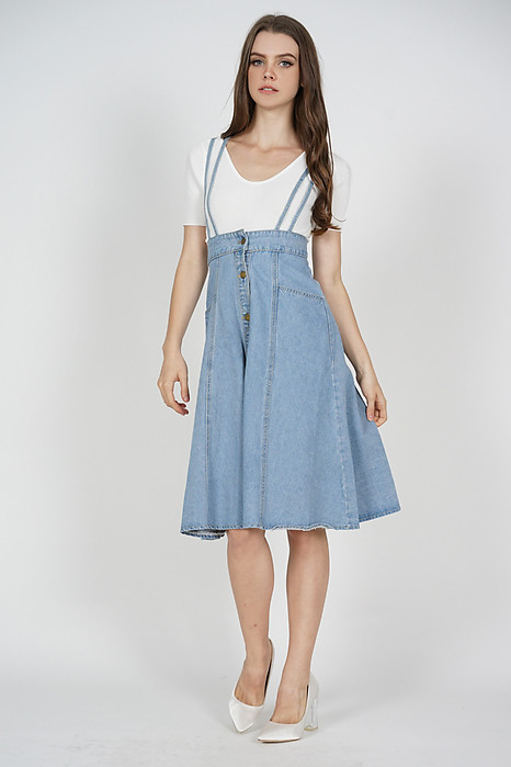 Brena Denim Overall Dress in Blue - Online Exclusive