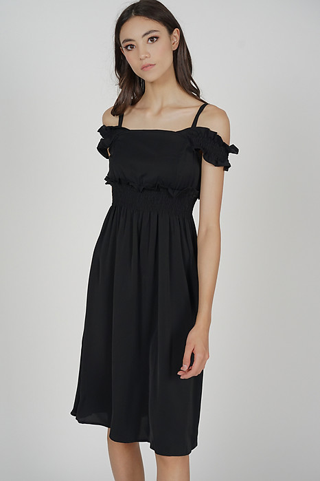Portie Frill Dress in Black - Online Exclusive