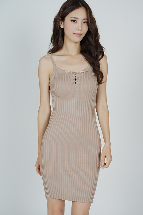 Cillian Front Tie Dress in Nude - Online Exclusive