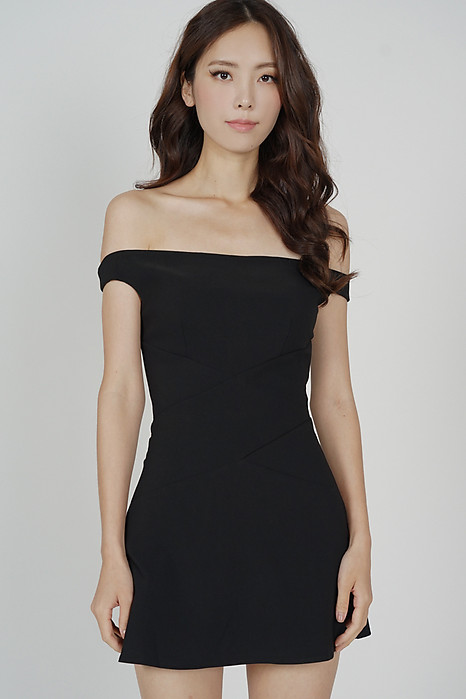 Olia Criss Cross Dress in Black - Arriving Soon