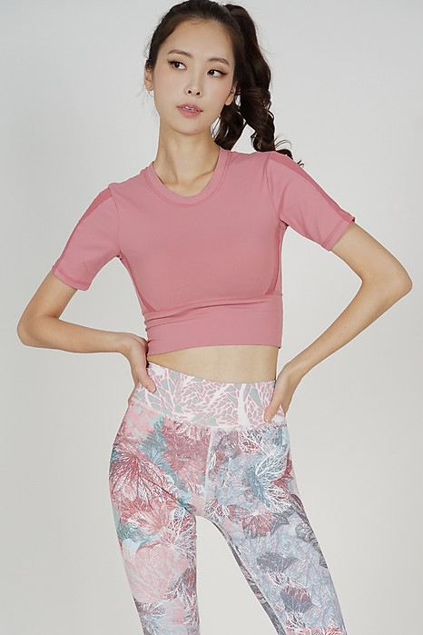 Abley Fitted Mesh Top in Pink - Arriving Soon