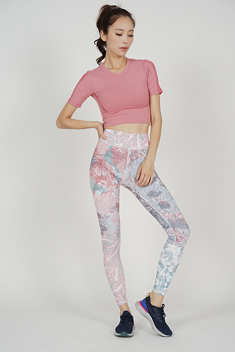Jenna High Waisted Yoga Pants in Pink Floral - Arriving Soon