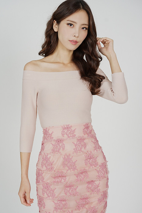 Aola Sleeved Knit Top in Pink