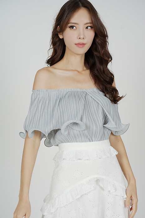 Jubi Pleated Ruffle Top in Ash Blue - Arriving Soon