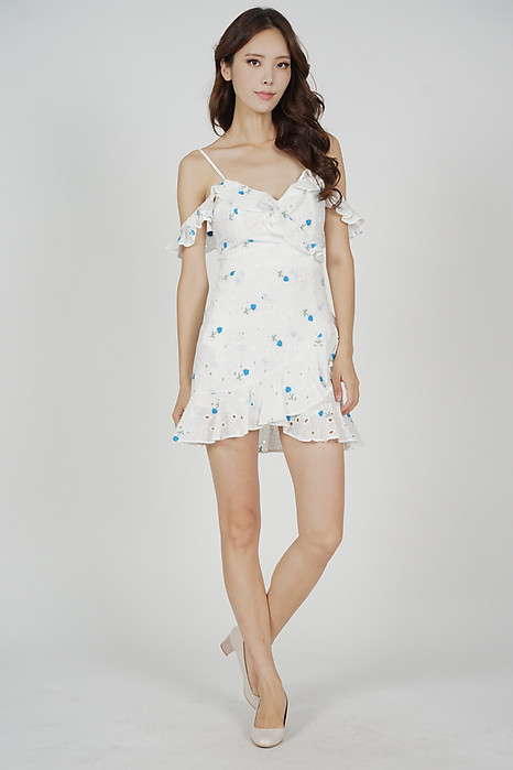 Meredith Ruffled Dress in Blue Floral