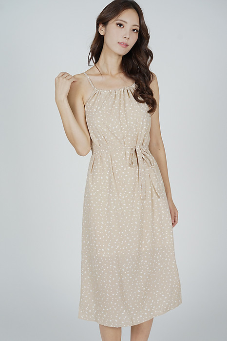 Adren Back Tie Dress in Beige - Online Exclusive