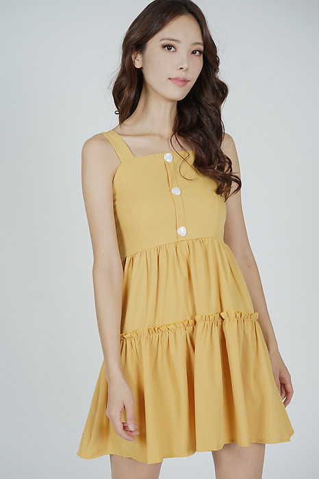 Tysie Gathered Dress in Mustard - Online Exclusive