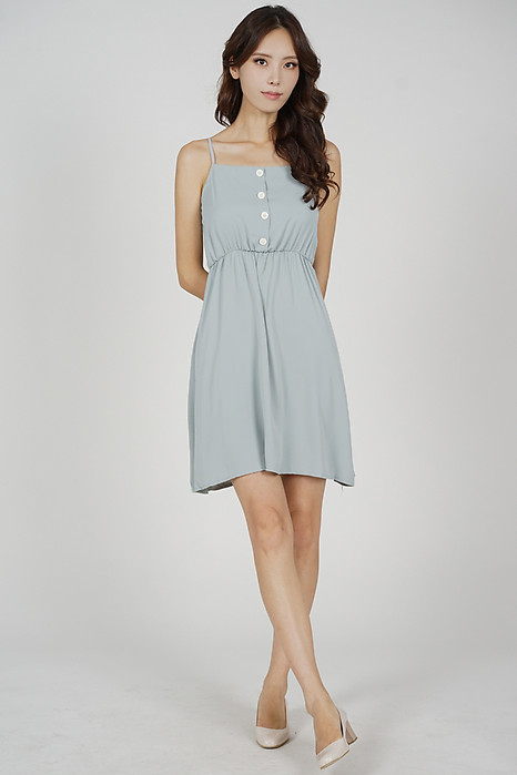 Marga Back Tie Dress in Ash Blue - Online Exclusive
