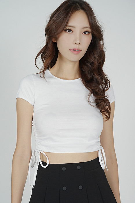 Jojie Gathered Tie Top in White