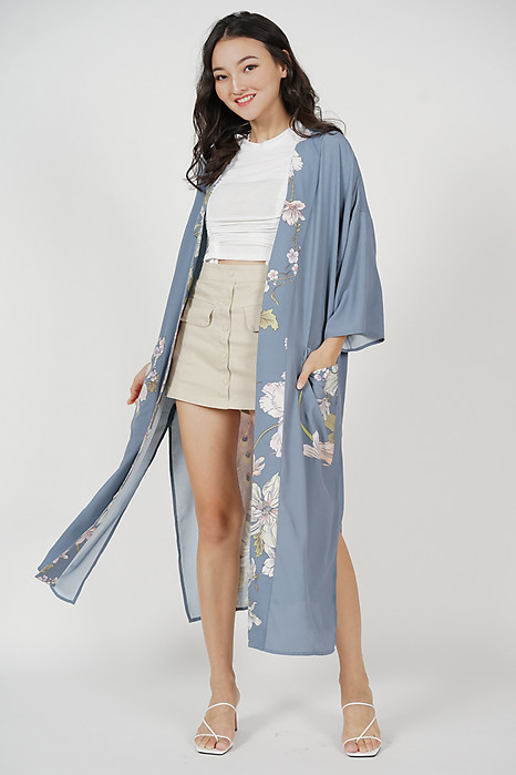 Urzia Duster Kimono in Dusty Grey