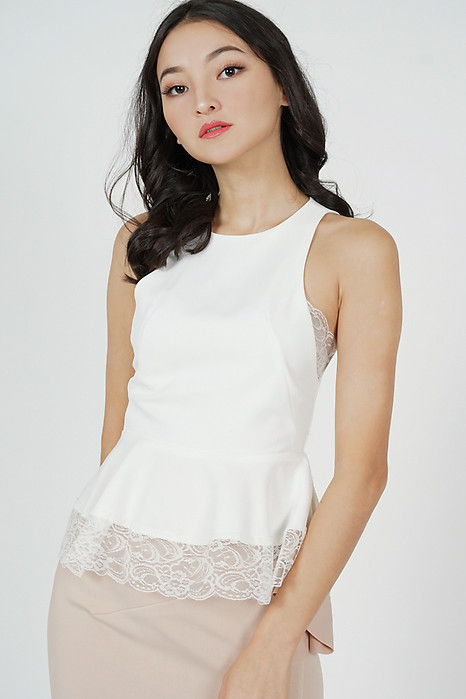 Eriza Lace-Trimmed Top in White