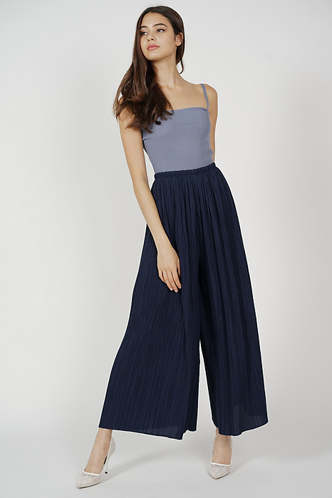Calixta Wide-Leg Pleated Pants in Midnight
