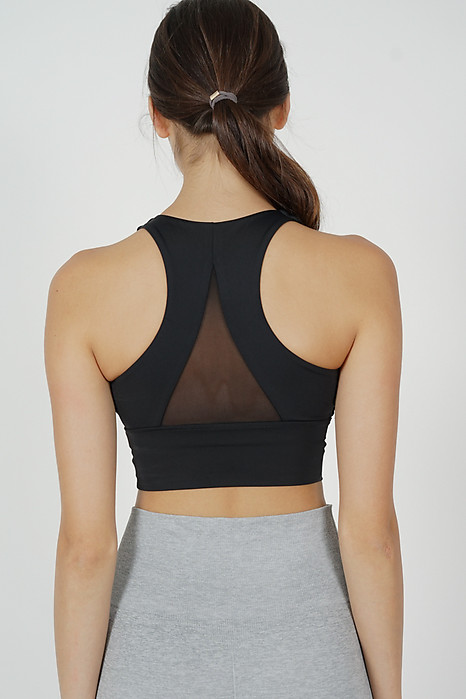 Rugia Padded Crop Top in Black - Arriving Soon