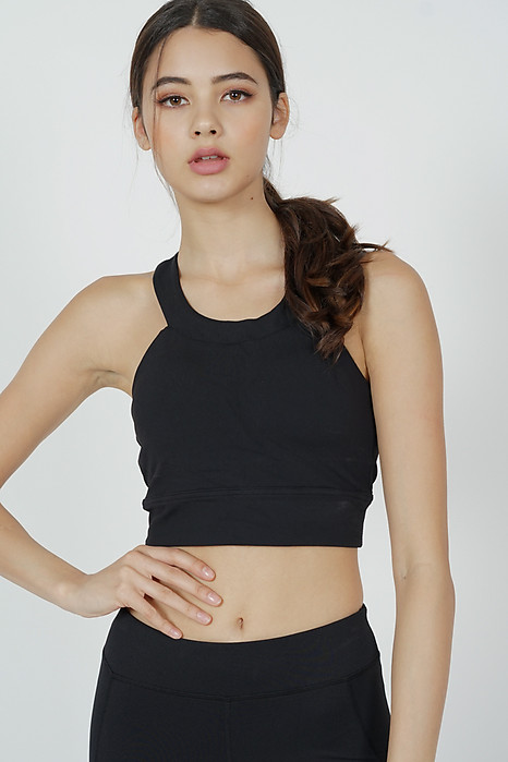 Kazzi Padded Crop Top in Black - Arriving Soon