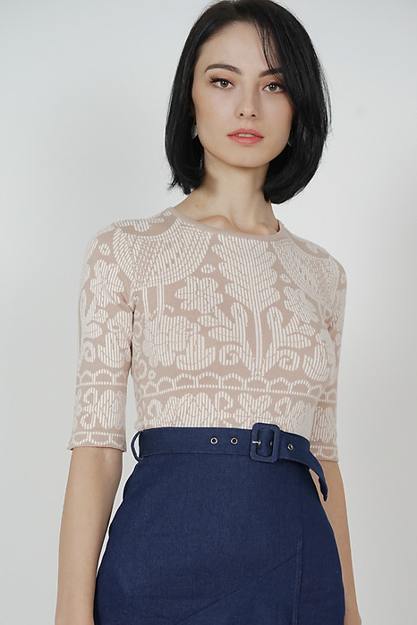 Muriel Printed Knit Top in Beige