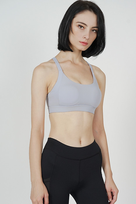 Drace Cross-Back Padded Top in Light Grey