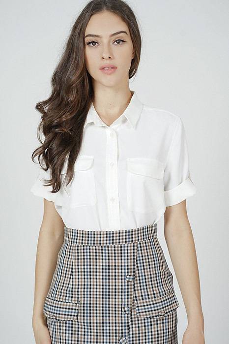 Charli Buttoned Top in White