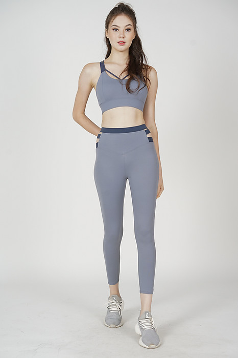 Garin Cutout Gym Tights in Ash Blue - Arriving Soon