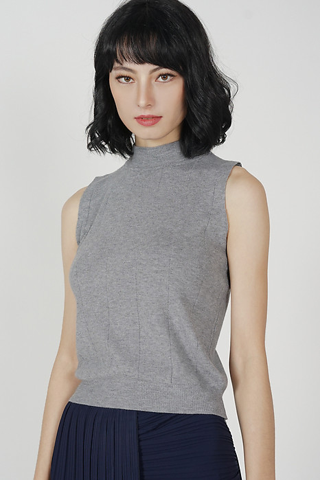 Salvia Knitted Tank Top in Grey - Online Exclusive