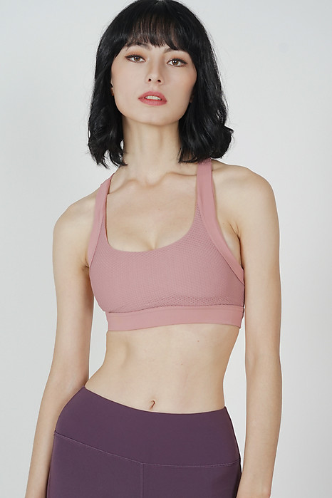 Janis Padded Mesh Top in Pink