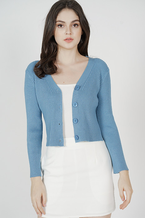 Olbie Buttoned Cardigan in Light Blue - Arriving Soon