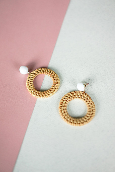Bamboo Woven Drop Hoop Earrings - Arriving Soon