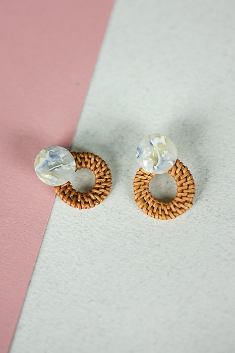 Bamboo Woven Stud in Blue - Arriving Soon