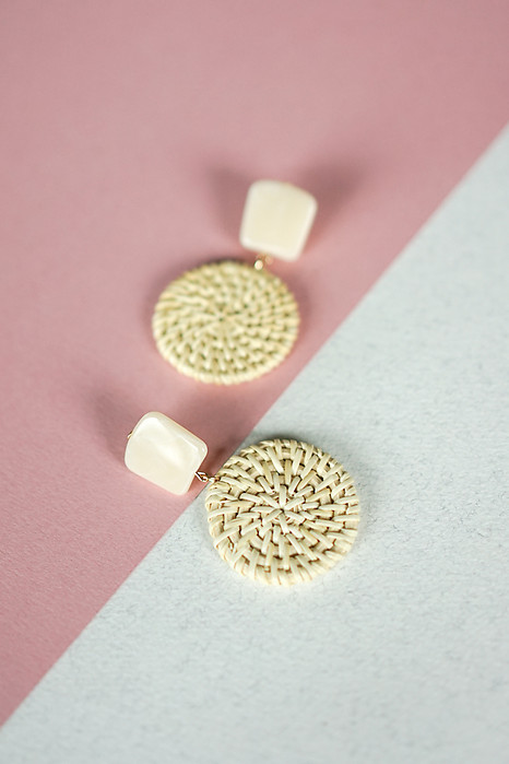 Bamboo Woven Round Earrings - Arriving Soon