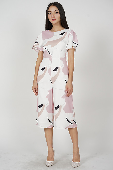Howard Midi Jumpsuit in Pink Abstract