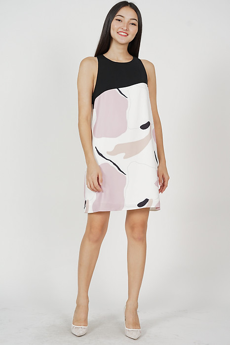 Sheila Contrast Shift Dress in Pink Abstract